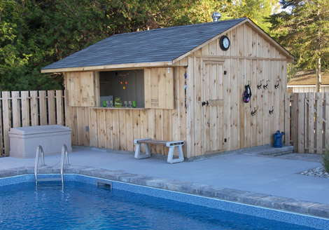 Pool shed pictures joy studio design gallery best design for Pool shed with bar plans