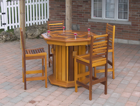 Western Octagon Patio Bar Table has a 20″ plastic liner in the center for  your ice and drinks with an opening lid to keep them in the shade before  serving. - ATPONDS: Red Cedar Patio Furniture